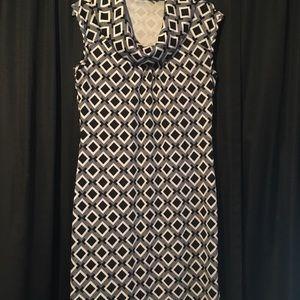 diamond print cowl neck work dress.